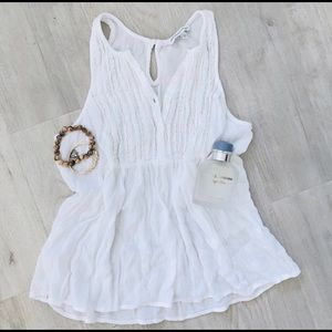 American Eagle Outfitters White Henley Blouse AEO